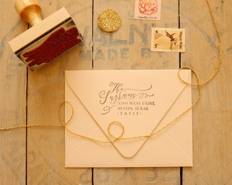Calligraphy Style Return Address Stamp - Custom Wedding Invitation Rubber Stamp