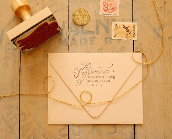 Calligraphy Style Return Address Stamp Custom Wedding