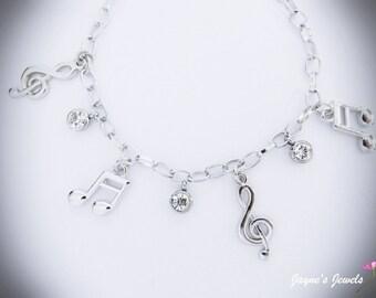 Music Note, Charm Bracelet, Quaver, Semiquaver, Crystal drops, music bracelet for girls who LOVE music