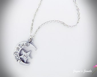 Moon and Stars Necklace, Crystal necklace, Sparkly necklace, ,
