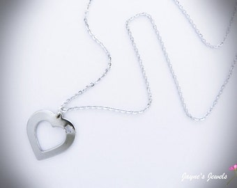 Stainless Steel Heart, Heart Necklace, Hollow Heart, Loveheart necklace, ,