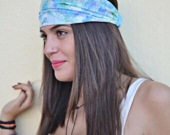 Cotton Headband, Green Blue Headband, Head Wrap, Sports Headbands, Wide Headband, Womens Turban, Turban Headband, Womens Headband, Headbands