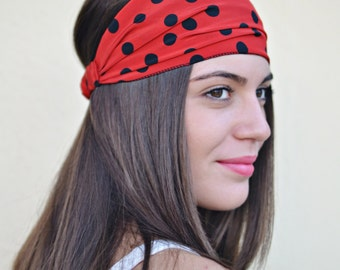 Polka Dot Headband, Red Headband, Handmade Headbands Hippie Headband Fashion Headbands Womens Head Wraps Vintage Headbands, Hair Accessories