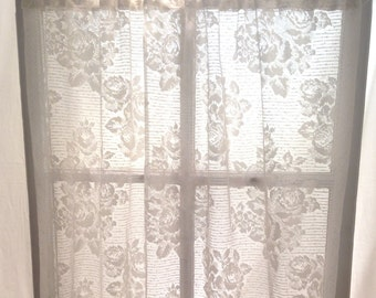 "crispy white country lace panel; floral rose pattern, shabby cottage chic long curtain; 40"" x 82"" panel; yesteryears"