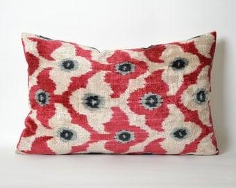 Velvet Ikat Pillow Cover - Red Pink White Soft Velvet Handwoven Decorative Pillow For Couch Ikat Cushion Cover Livingroom Decor Ikat Bedding