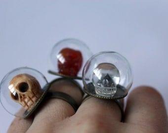 Glass Globes Skulls, Rings, bubble
