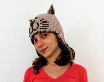 Knit earflap hat Kitty