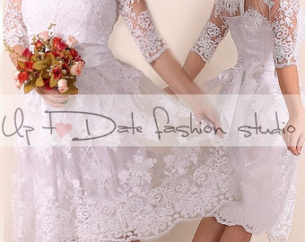 Lace short  Wedding dress / V front /Recepion/knee length/ party dress/  Bridal Gown 3/4 sleeve