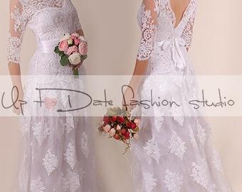 Lace Wedding dress /Vneck & back/Recepion/ long /mаxi/ lace dress/ Bridal Gown 3/4 sleeve
