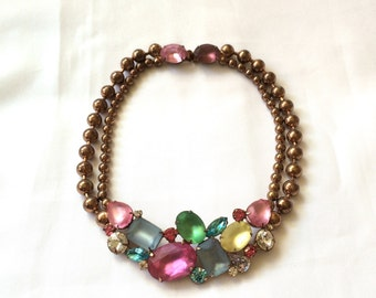 1950s One of-a-Kind Copper & Rhinestone Choker Necklace