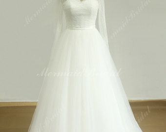 Open back long sleeved tulle lace wedding dress with deep v neckline