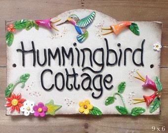 House sign, address number and name sign, Ceramic, Hummingbirds Design
