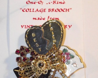 Best Friends Theme,  1-of-a-kind Collage Brooch and/or Pendant made w/ vintage jewelry. Red, black, cloisonne, rhinestones, #21h.