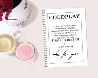 Coldplay - Fix You spiral notebook - Journal Jotter