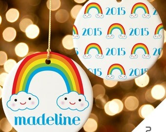 Personalized Rainbow Christmas Ornament, Custom Christmas Ornament, Personalized Rainbow Ornament | 2015 Christmas Ornament