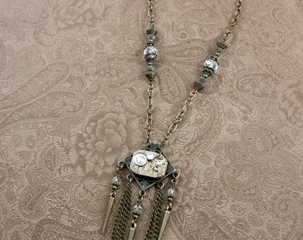 watch movement necklace, steampunk jewelry, time traveler necklace N158