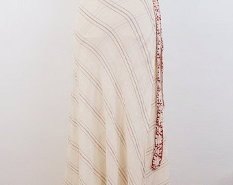 Rare 60s vintage Indian cotton skirt Sheer Gauze DEADSTOCK boho HIPPIE skirt ethnic India MAXI wrap skirt S M L free size Small Medium Large