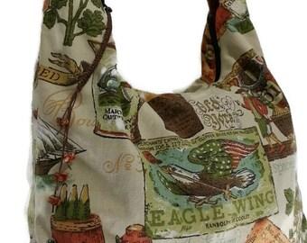Colonial print bag, Americana purse, colonial purse, American purse, Market bag, Hobo bag, shopping bag, slouch bag, market bag with zipper