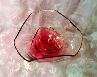 Set of 2 Indiana Glass Ruby Pink Serving Bowls -Large & Small Chip Dip, Punch Bowls - Valentines Day, Wedding, Baby Shower, Easter