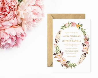 Boho Wedding Invitation, Flower Wreath Invitations, Whimsical Invitations with Feather Wreath