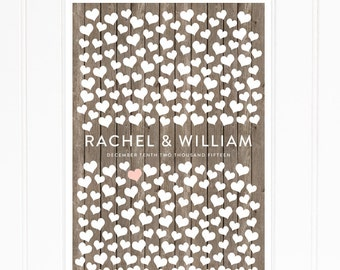 Heart Guest Book, Rustic Wedding Guest Book with Hearts, Guest Book Alternative, Guest Signature Sign for 200