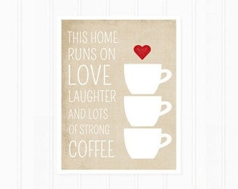 Kitchen Art Print, Coffee Art Print, Quote Print, This Home Runs on Coffee, Typography, Kitchen Decor