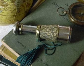 Elegant Antique Brass and Pocket Spy Scope Monocular - Antique Compact Telescope