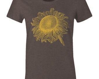 Sunflower Tee Shirt - Women's Sunflower T Shirt - American Apparel Women's Poly Cotton T-Shirt - Item 2071