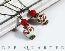boho, earrings, Japan, cherry blossoms, Porcelain Beads, red, mint, mint green, light green, wedding, bridal, nostalgic, pearl, romantic