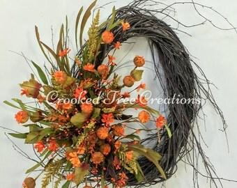 Fall Wreath, Autumn Wreath, Harvest Wreath, Fall Floral, Fall Door Decor, Fall Wreaths, Pods, Wildflower Wreath, Autumn Door Decor, Fall
