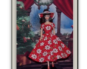 """1:6 Scale Fashion Doll Clothes. """"Flower"""" by Jolie.  Dress & Hat"""