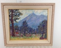 Vintage Oil Painting - Western Mountain Village Scene - Impressionist Style - Wood Frame 19 x 17 inch - not signed or dated