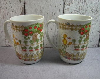 Vegetable Garden Mugs by Enesco 1976 set of 2