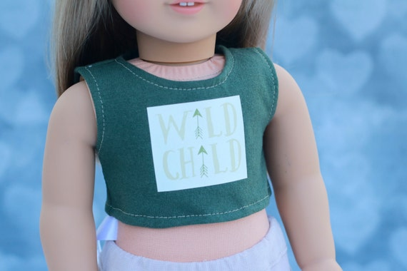 American Made Doll Clothes | Olive Green Wild Child GRAPHIC CROP TOP for 18 inch doll such as American Girl Doll