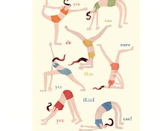 yoga mini poster - more than you think - A4 poster - yoga illustrations - yoga drawings - yoga postures - mini-poster - digital print