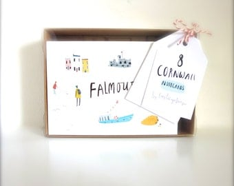 Gift box of 8 Cornwall illustrated notecards