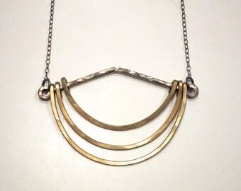 Oxidized Hanging Crescents Pendant