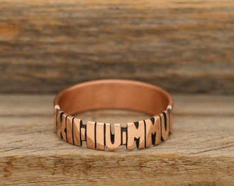 Hand Carved Copper Roman Numeral Ring