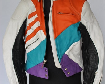 Vintage SCHUH HANDMADE LEATHER motor jacket , biker jacket , women leather jacket...(055)