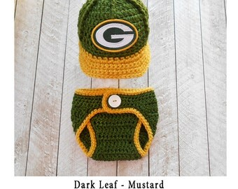 Green Bay Packers Baby Hat, Newborn Photo Prop, Baby Boy Hat, Baby Girl Hat, Green Bay Packers Knit Hat, Crochet Newborn hat diaper cover