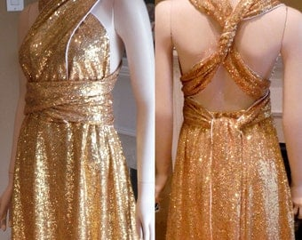Gold sequin bridesmaid dress, convertible bridesmaid dress, infinite bridesmaid dress, gold sequin dress