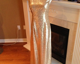 Gold sequin bridesmaid dress, Prom dress 2016 - Cap sleeves sheath sequin dress