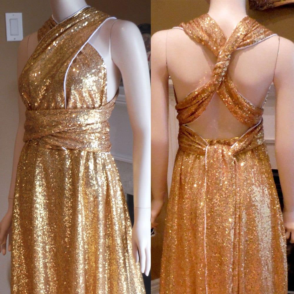 Gold sequin bridesmaid dress convertible bridesmaid dress for Gold sequin wedding dress