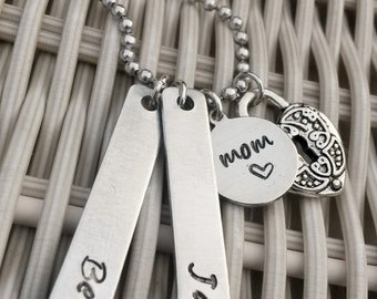 Stamped Mom Necklace, Name Bars, Personalized Jewelry, Hand Stamped