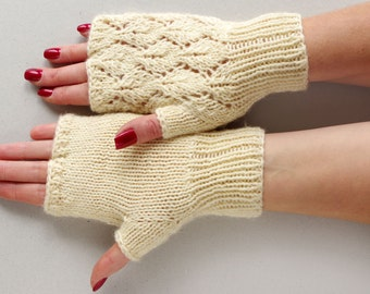 Lace fingerless gloves, womens knit arm warmers,  fingerless mittens, wrist warmers, armwarmers, romantic knit gloves, hand warmers