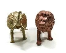 Metallic Jungle Animal Set - Copper and Gold Animals - Plastic Toy Animals - Toy Lion - Toy Elephant - African Birthday Decor - Safari Decor