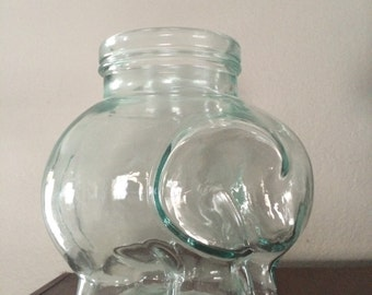 Small Glass Elephant Jar - Made In Italy