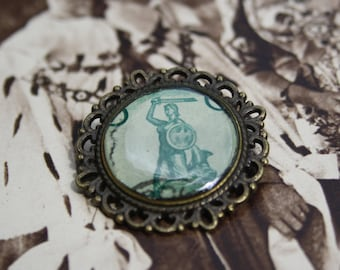 Bronze Postage stamp Brooch