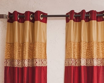 Maroon silk Curtains