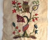 Vintage Sampler Completed Embroidery Owl Plants Nature Finished Crewel Needlework Home Decor Frameable Wall Art